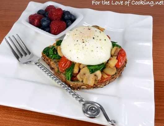 Poached Egg on Toast with Sautéed Veggies